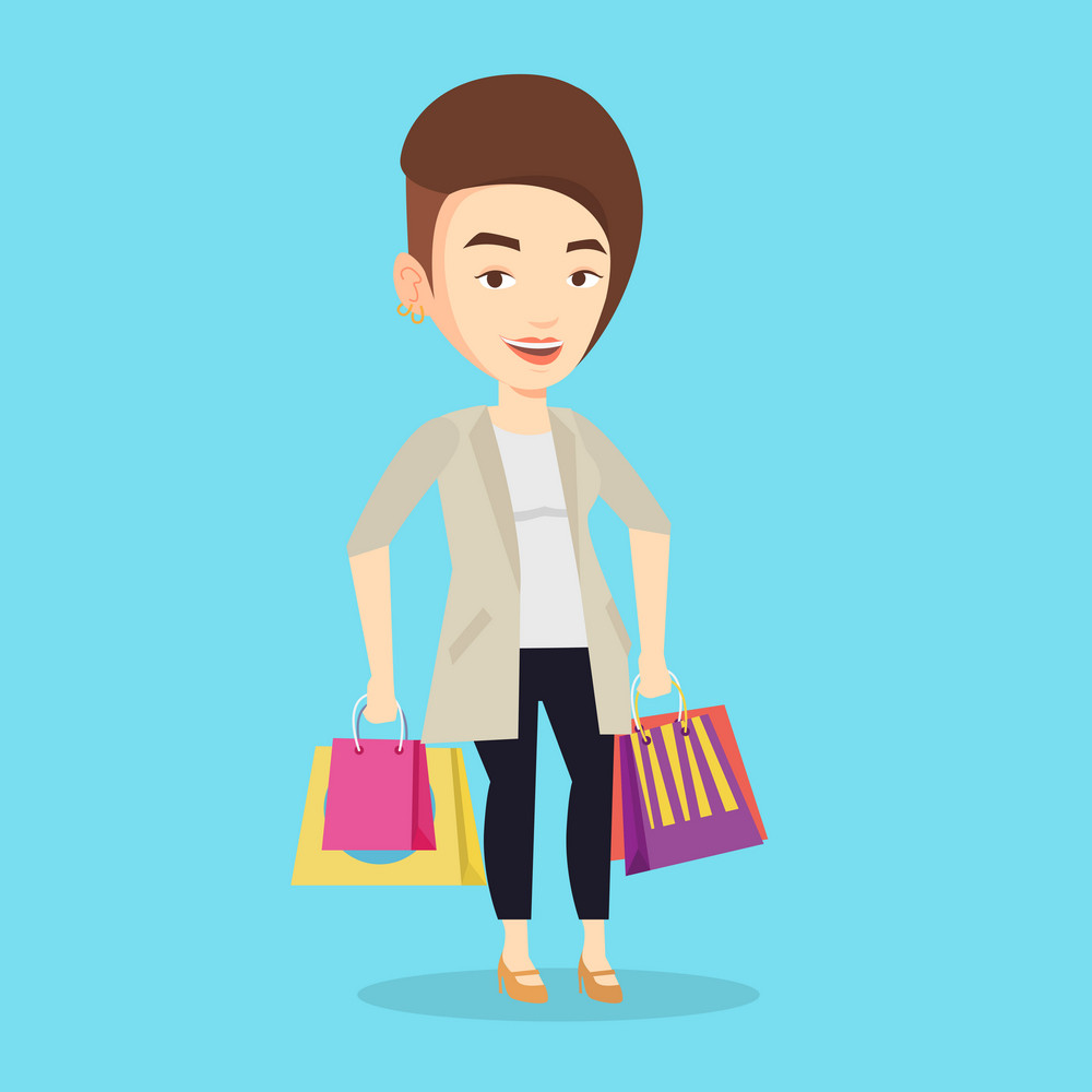 Happy caucasian woman carrying shopping bags. Young smiling woman holding shopping bags. Woman standing with a lot of shopping bags. Vector flat design illustration. Square layout.