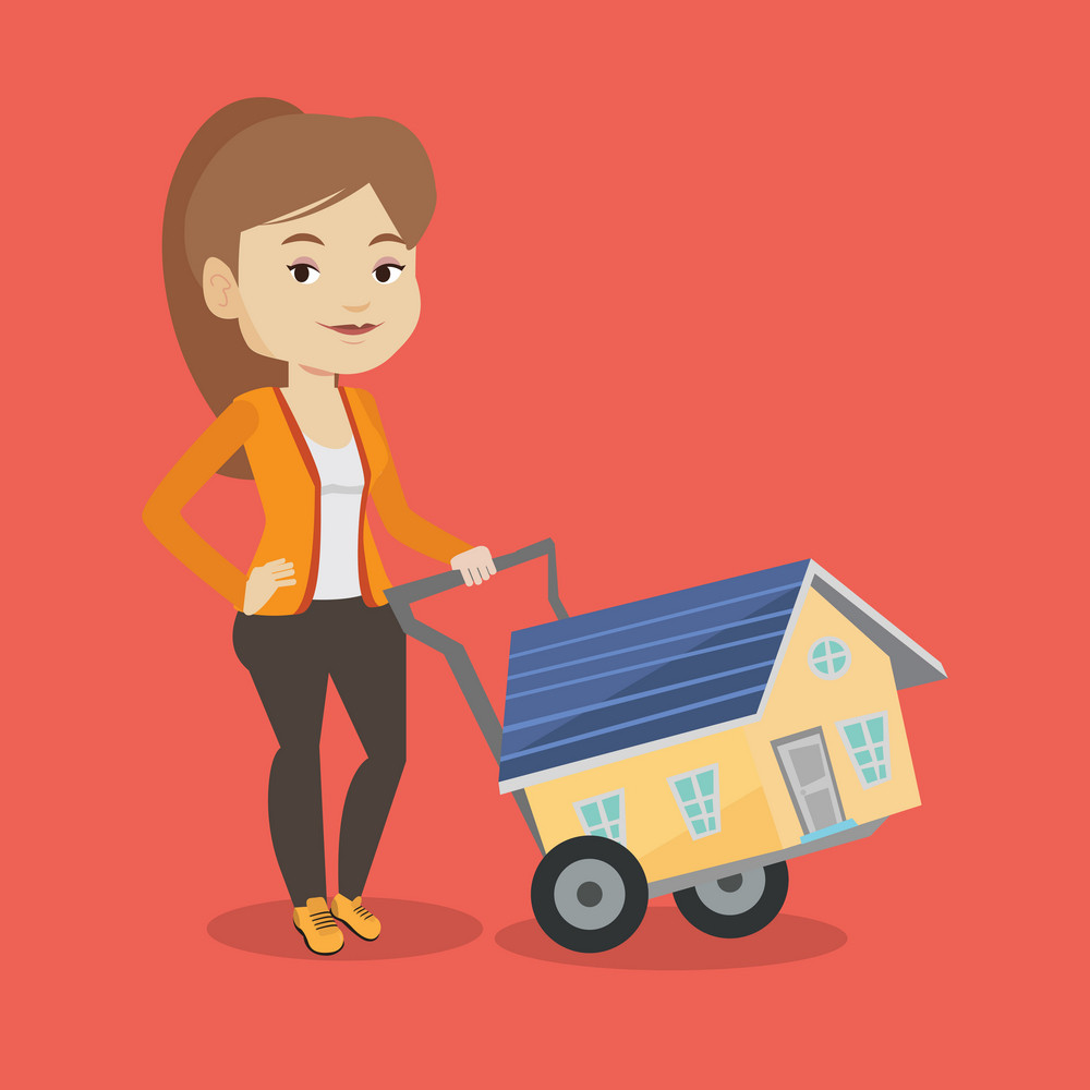 Happy caucasian woman pushing a shopping trolley with a house. Young smiling woman buying home. Woman using shopping trolley to transport a house. Vector flat design illustration. Square layout.