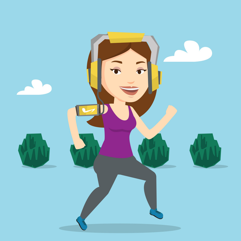 Happy caucasian woman running with earphones and armband for smartphone. Young woman using smartphone to listen to music while running in the park. Vector flat design illustration. Square layout.