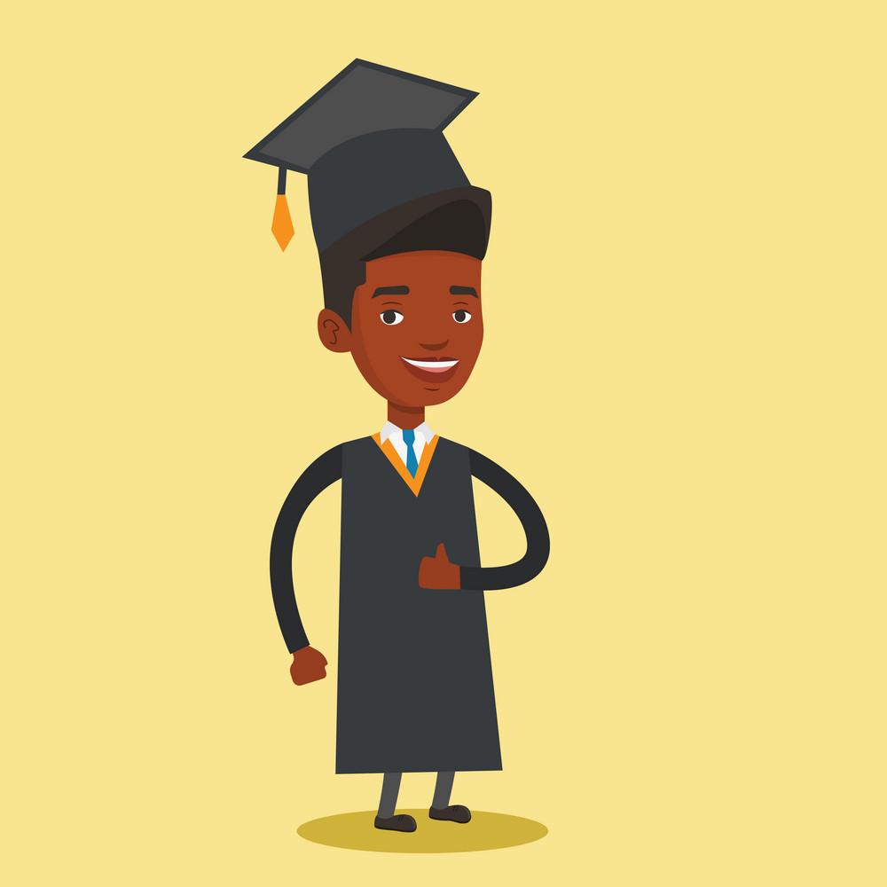 Happy cheerful graduate in cloak and graduation cap. An african-american graduate giving thumb up. Joyful graduate celebrating. Concept of education. Vector flat design illustration. Square layout.