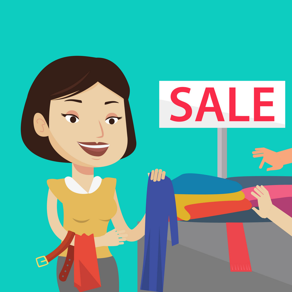 Happy female customer buying clothes at store on sale. Caucasian woman choosing clothes in shop on sale. Young girl shopping in clothing shop on sale. Vector flat design illustration. Square layout.
