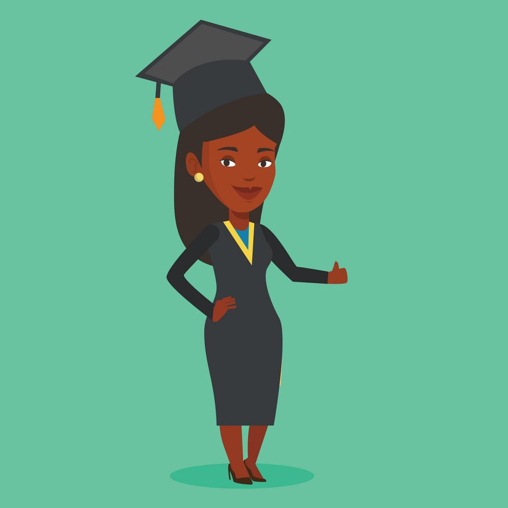 Happy female graduate in cloak and graduation cap. African-american graduate giving thumb up. Joyful female graduate celebrating. Concept of education. Vector flat design illustration. Square layout.