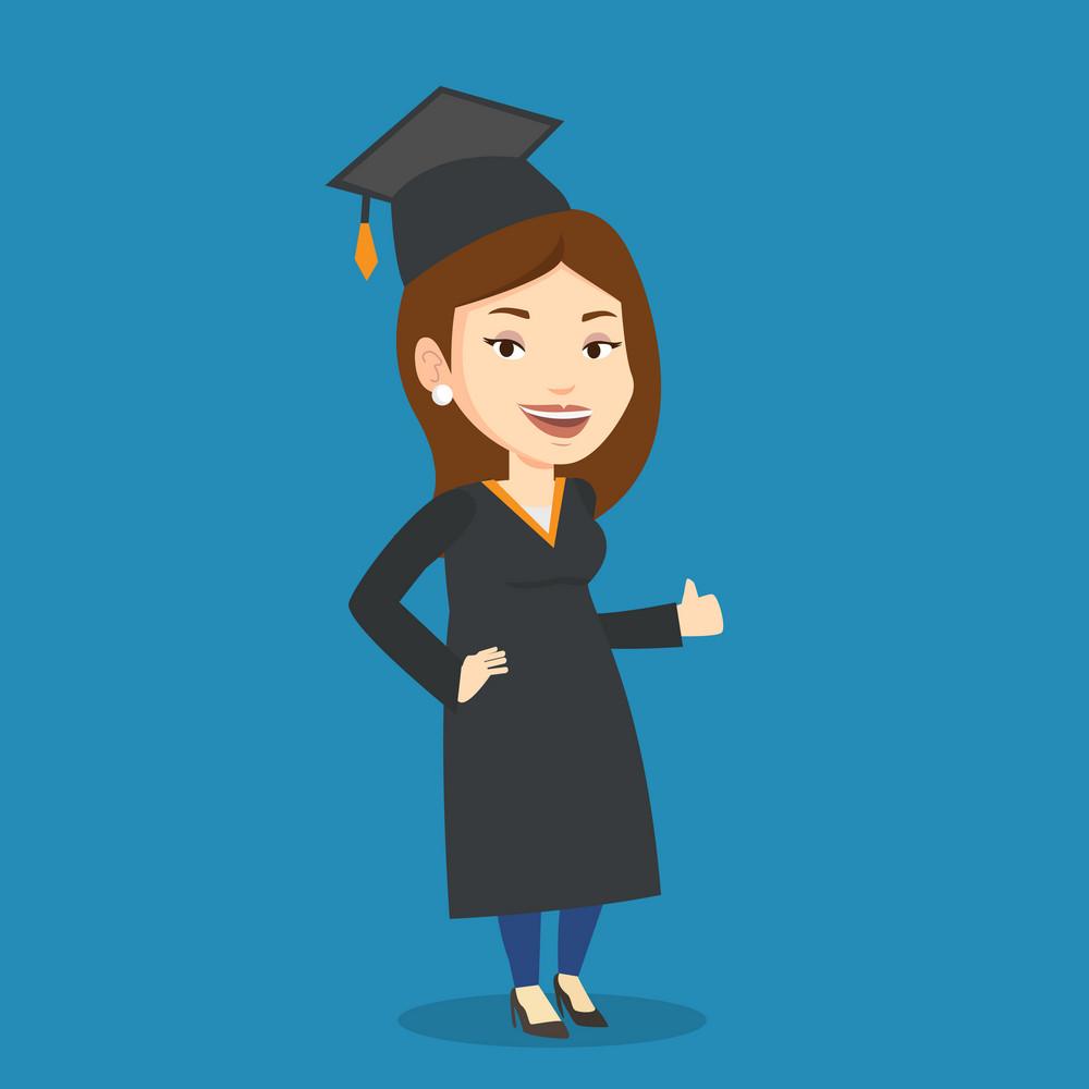 Happy female graduate in cloak and graduation cap. Caucasian female graduate giving thumb up. Joyful female graduate celebrating. Concept of education. Vector flat design illustration. Square layout.