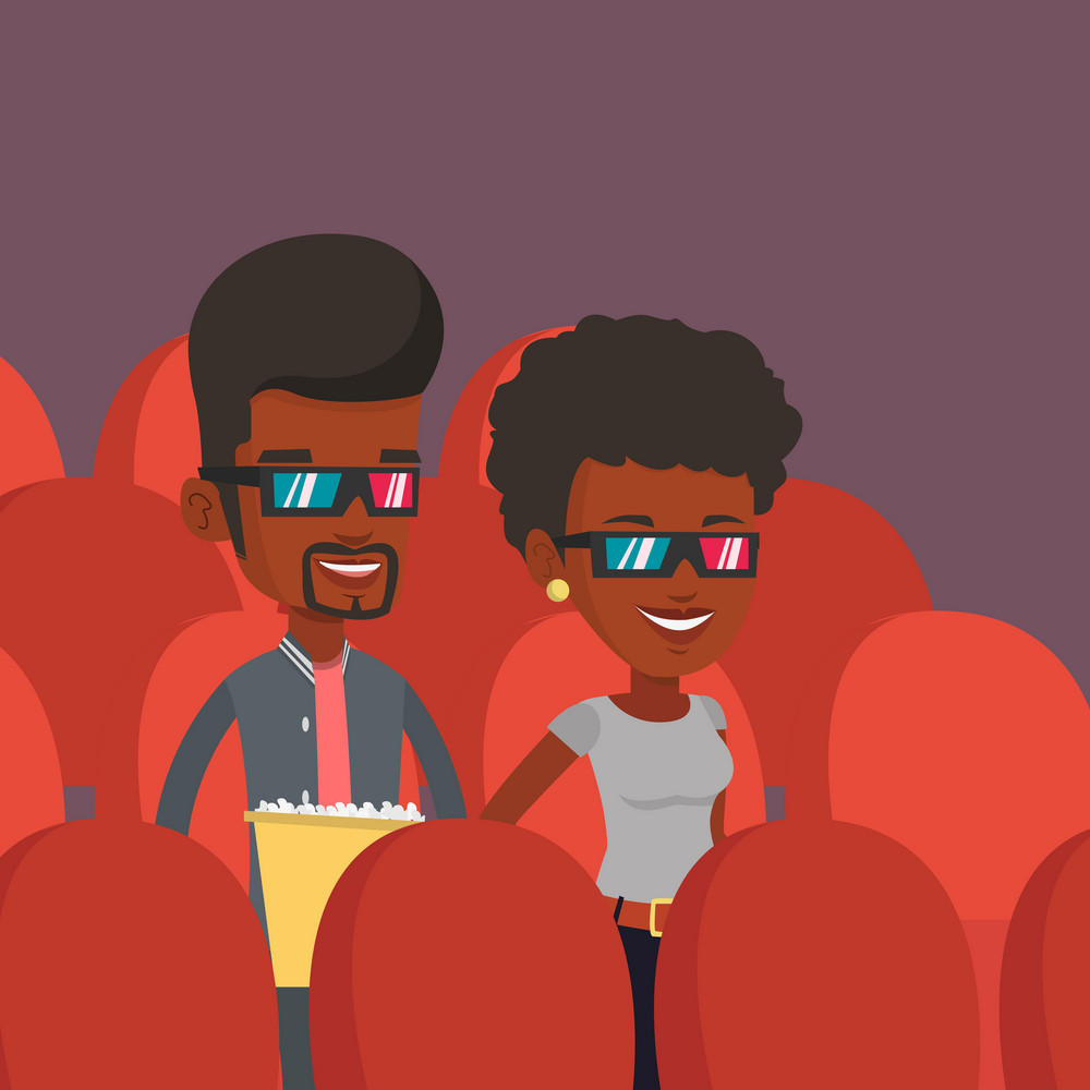 Happy friends watching three D movie in the theatre. Smiling african-american friends in three D glasses watching movie and eating popcorn in the cinema. Vector flat design illustration. Square layout