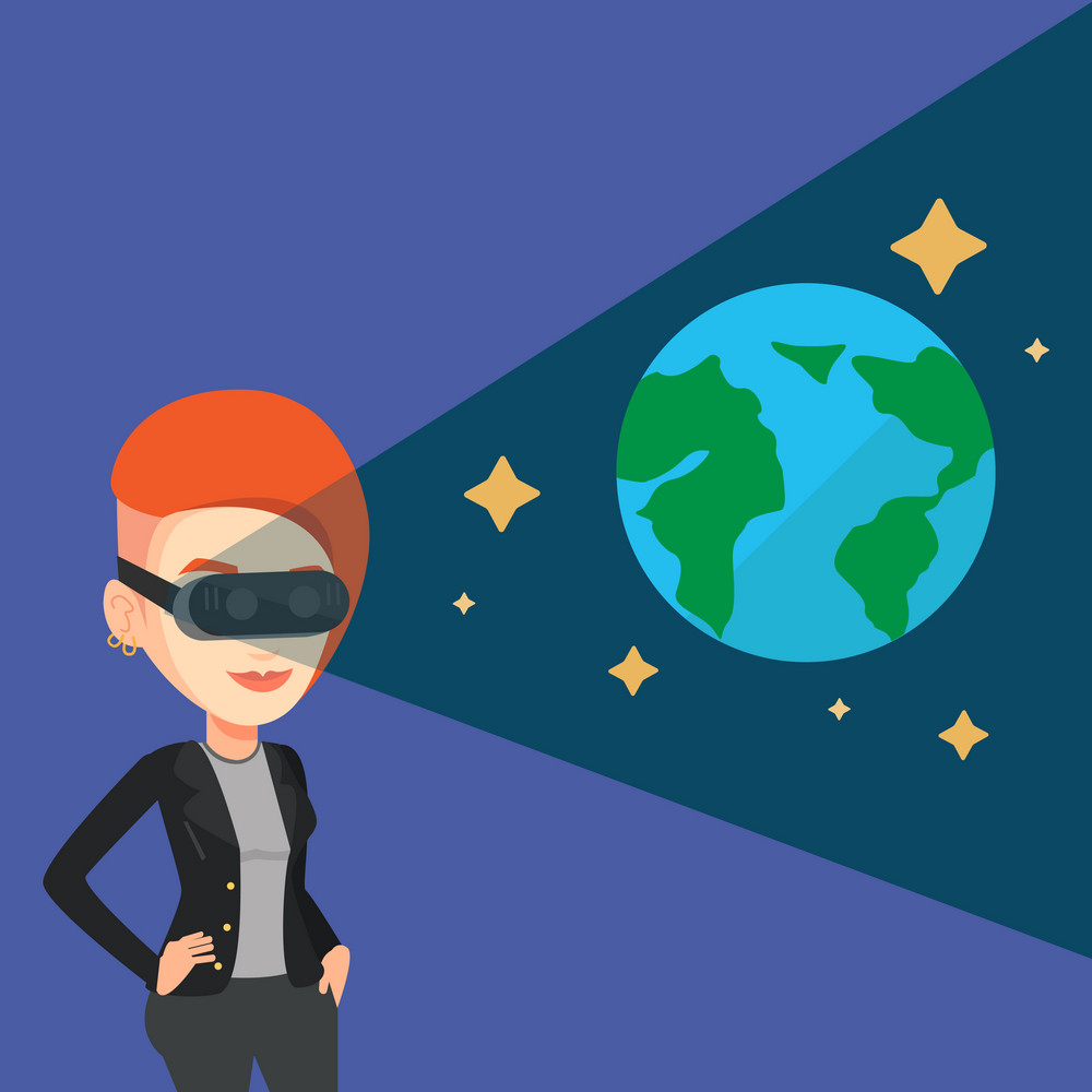 Happy gamer wearing futuristic virtual reality headset and looking at open space with earth model and stars. Young caucasian woman playing virtual game. Vector flat design illustration. Square layout.