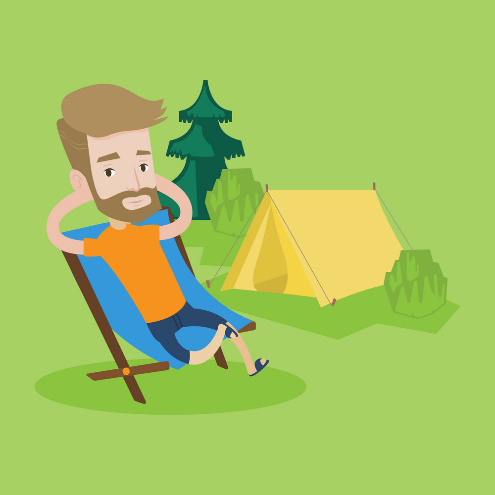 Happy hipster man with the beard sitting in a folding chair in the camp. Young caucasian man relaxing and enjoying his camping holiday near the tent. Vector flat design illustration. Square layout.