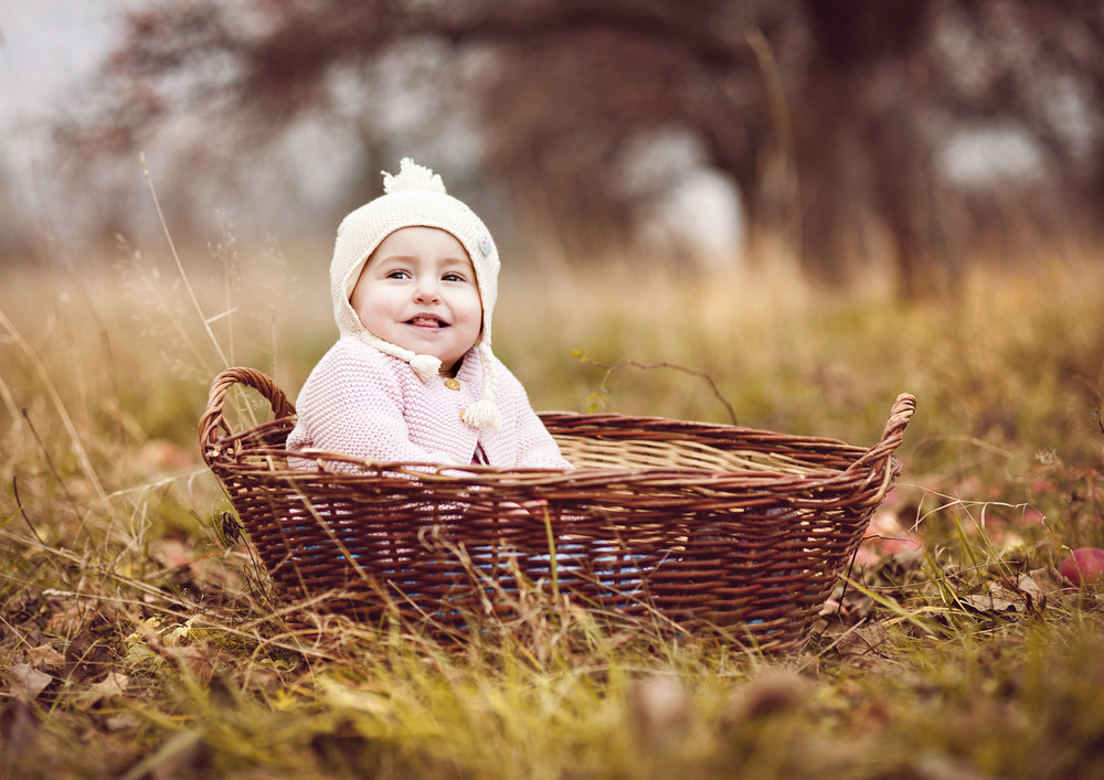 Happy little girl in warm clothes is sitting in basket in autumn nature