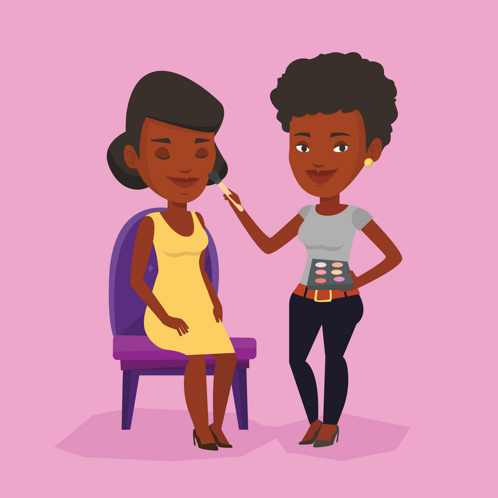 Happy make up artist applying makeup with a brush on woman face. Visagiste doing makeup to young girl. Visagiste doing makeup to a model using a brush. Vector flat design illustration. Square layout.