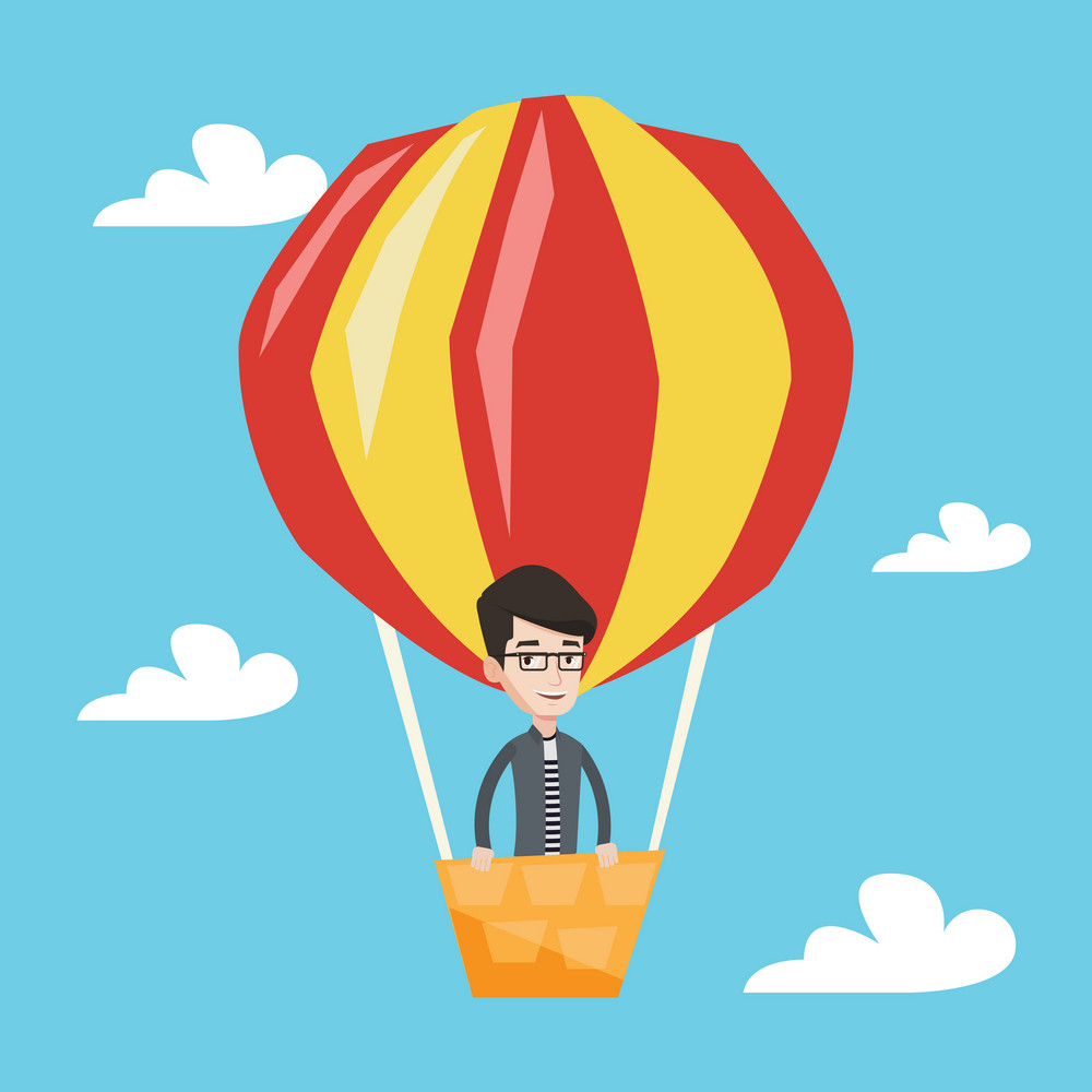 Happy man flying in a hot air balloon. Caucasian man standing in the basket of hot air balloon. Man traveling in aerostat. Man riding a hot air balloon. Vector flat design illustration. Square layout.