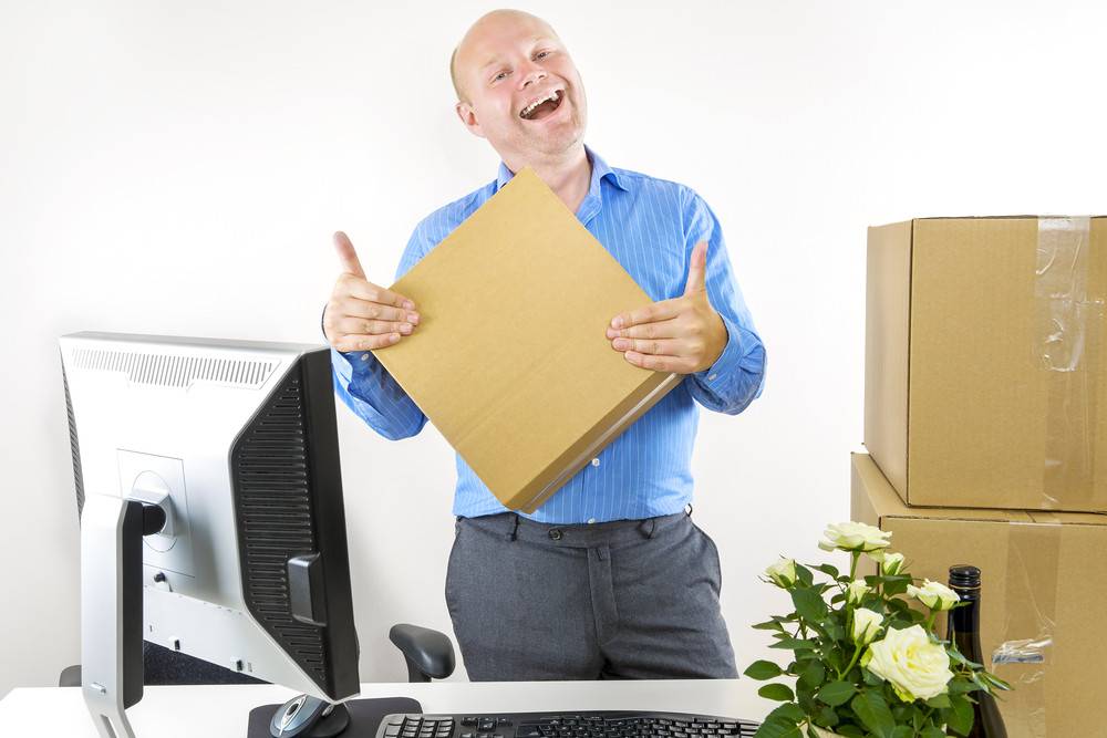 Happy man has first day of work