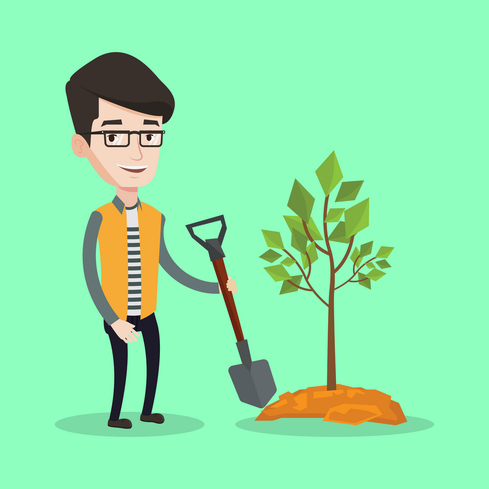 Happy man plants a tree. Cheerful man standing with shovel near newly planted tree. Young man gardening. Vector flat design illustration. Square layout.