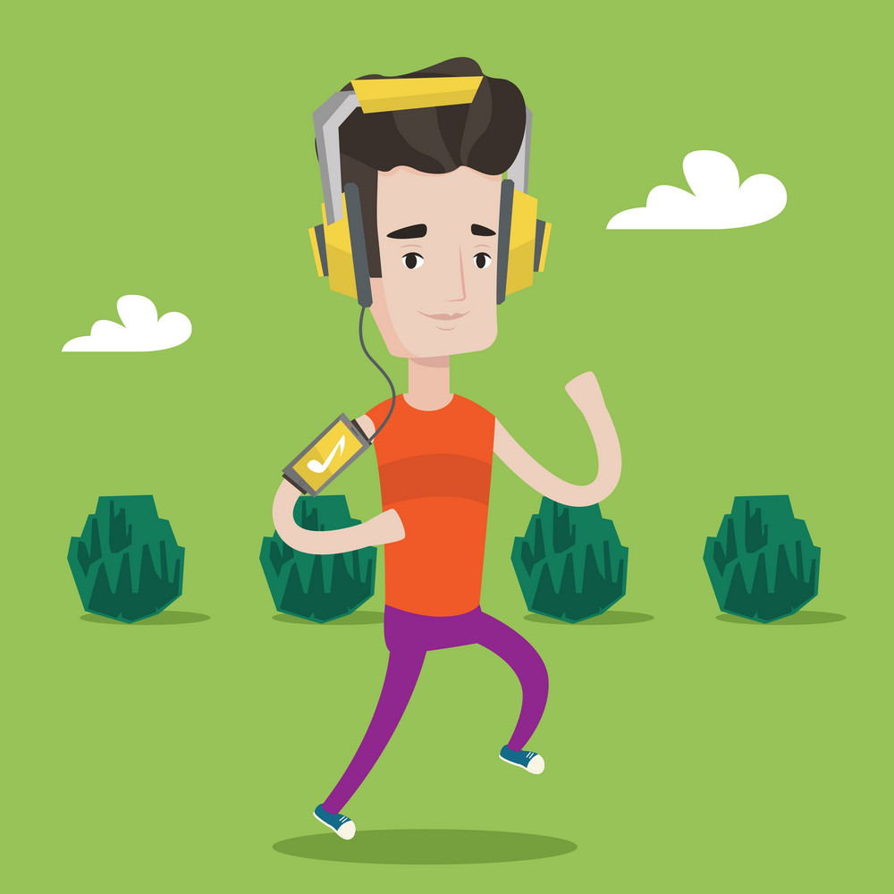 Happy man running with earphones and armband for smartphone. Young man using smartphone to listen to music while running in the park. Vector flat design illustration. Square layout.