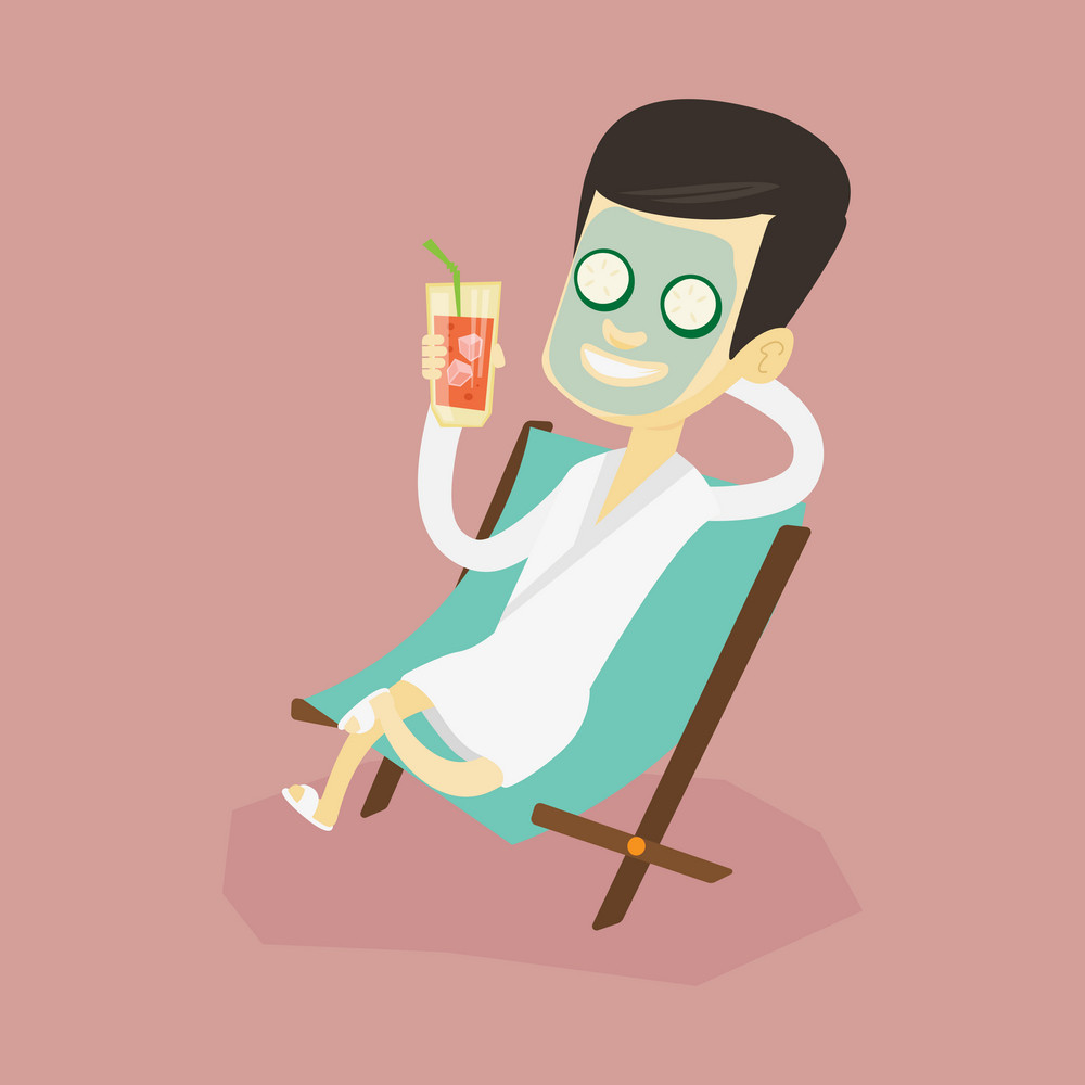 Happy man with face mask and towel on his head lying in chaise lounge in beauty salon. Man relaxing in beauty salon. Man having beauty treatments. Vector flat design illustration. Square layout.