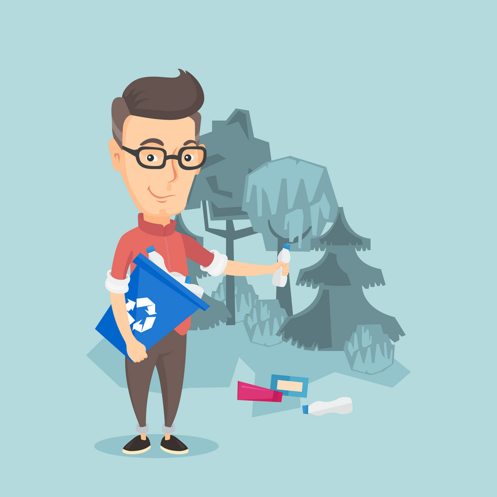 Happy man with recycling bin in hand picking up used plastic bottles in forest. Caucasian man collecting garbage in recycle bin. Waste recycling concept. Vector flat design illustration. Square layout