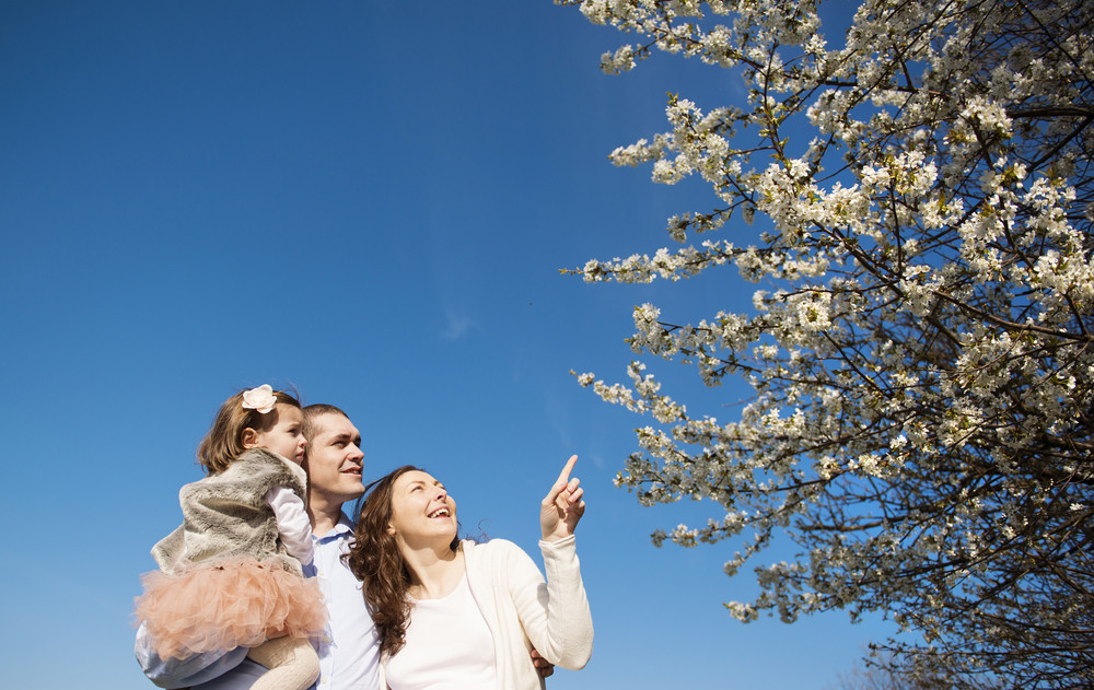 Happy pregnant family having fun in spring nature
