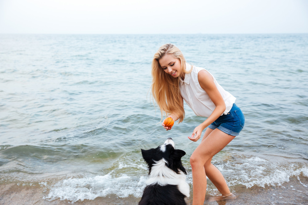 Happy pretty young woman playing with dog using ball on the beach