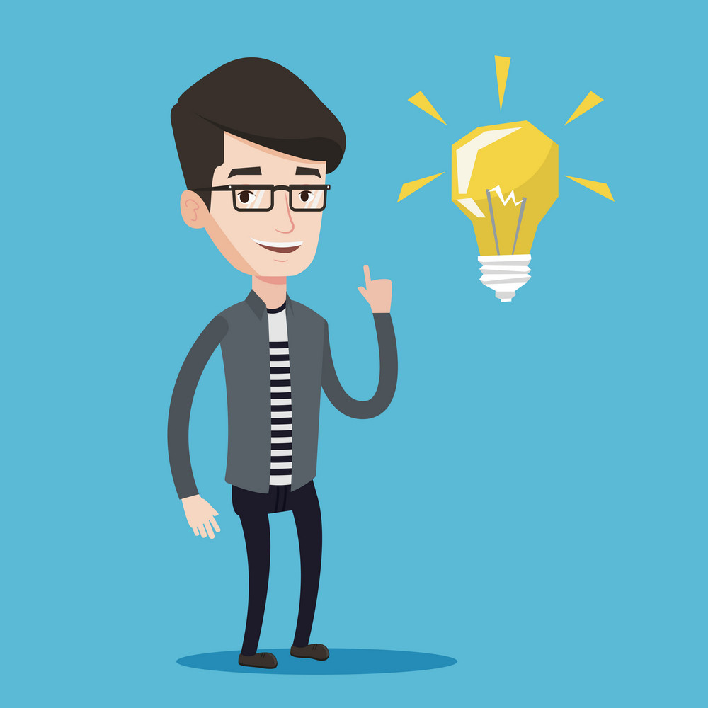 Happy student pointing his finger up at the light bulb. Young excited male student with bright light bulb. Smiling student having a great idea. Vector flat design illustration. Square layout.