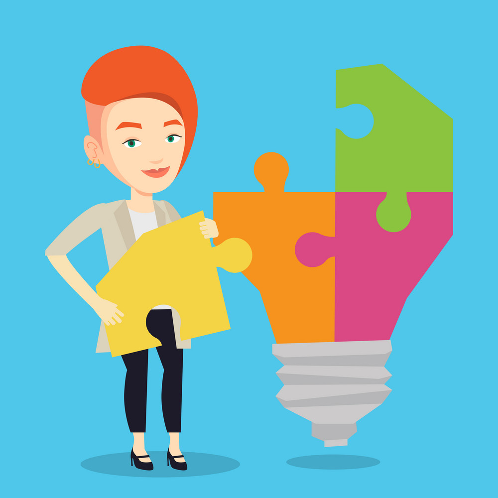 Happy student standing near the idea bulb. Young excited female student takes apart idea light bulb made of puzzle. Smiling student having a great idea. Vector flat design illustration. Square layout.