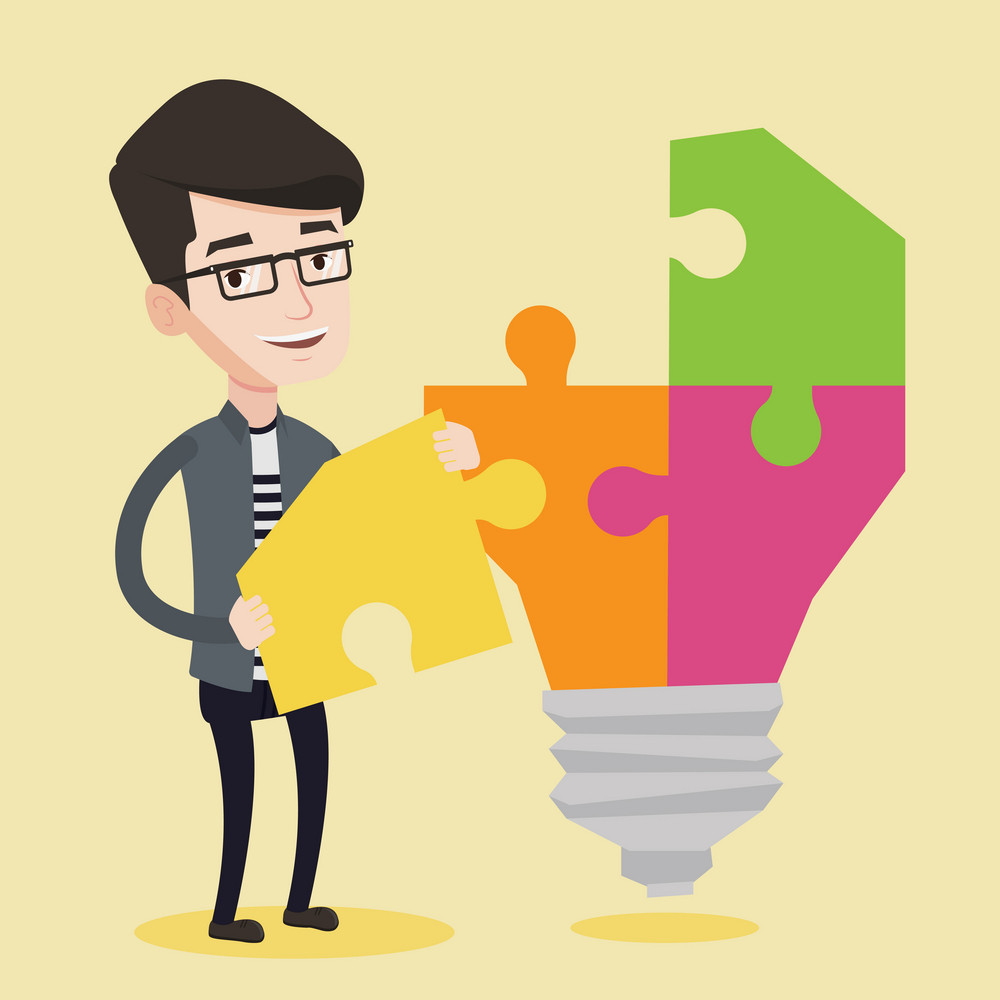 Happy student standing near the light bulb. Young excited male student takes apart light bulb made of puzzle. Smiling student having a great idea. Vector flat design illustration. Square layout.