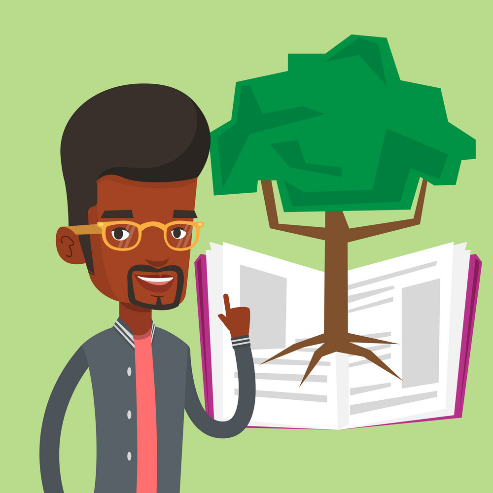 Happy student standing on the background of tree growing from open book. An african-american student pointing at tree of knowledge. Concept of education. Vector flat design illustration. Square layout