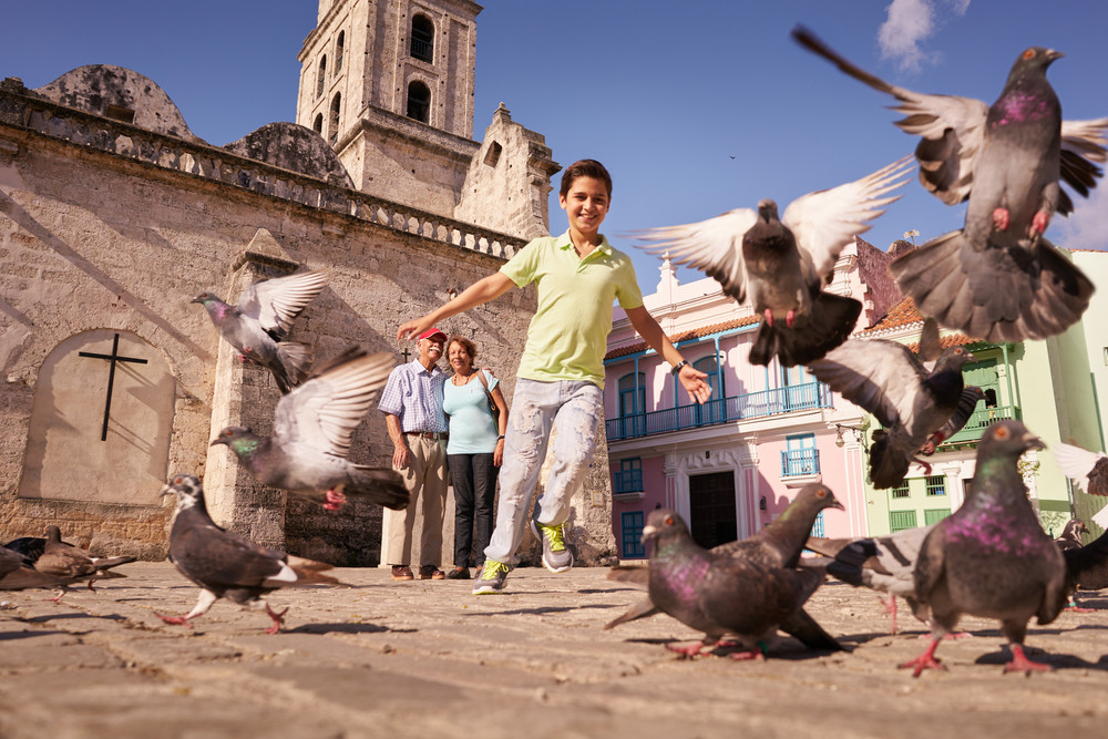 Happy tourist on holidays during vacation trip. Hispanic people traveling in Havana, Cuba. Grandpa and grandson feeding birds, with child running chasing pigeons