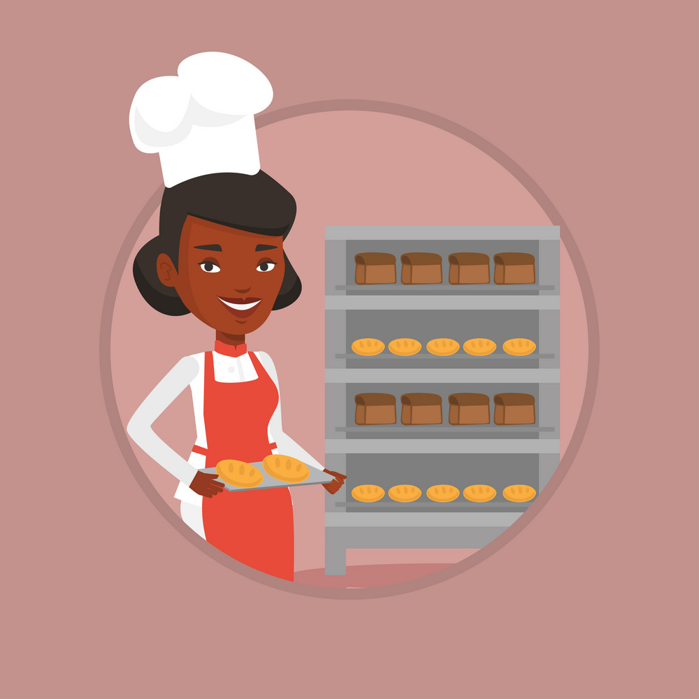 Happy young african-american baker holding tray of bread in the bakery. Baker standing near bread rack. Baker holding baking tray. Vector flat design illustration in the circle isolated on background.