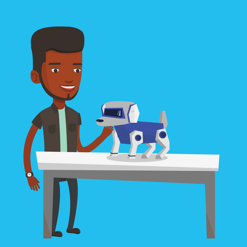 Happy young african-american man playing with a robotic dog. Smiling man standing near the table with a robotic dog on it. Man stroking a robotic dog. Vector flat design illustration. Square layout.