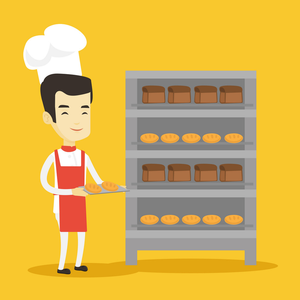 Happy young asian baker holding tray of bread in the bakery. Confident male baker standing near bread rack. Smiling baker holding baking tray. Vector flat design illustration. Square layout.