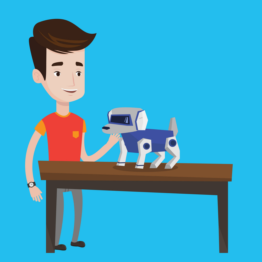 Happy young caucasian man playing with a robotic dog. Smiling man standing near the table with a cyber dog on it. Man stroking a robotic dog. Vector flat design illustration. Square layout.
