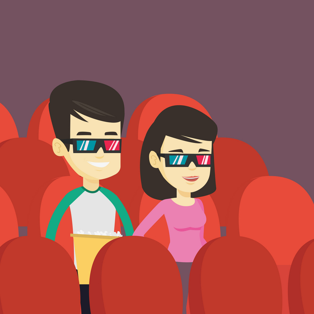 Happy young friends watching three D movie in the theatre. Smiling asian friends in 3d glasses watching a movie and eating popcorn in the cinema. Vector flat design illustration. Square layout.