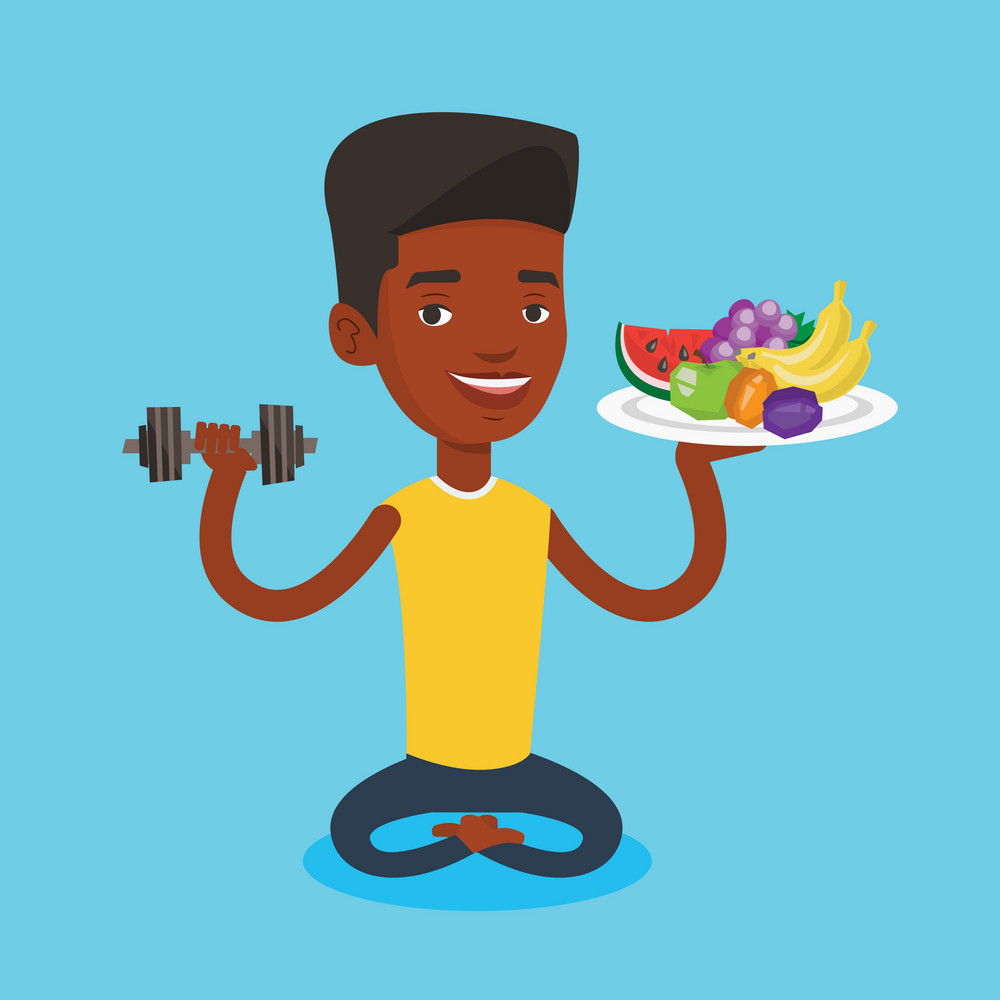 Healthy man with fruits and dumbbell. An african-american man holding fruits and dumbbell. Man choosing healthy lifestyle. Healthy lifestyle concept. Vector flat design illustration. Square layout.