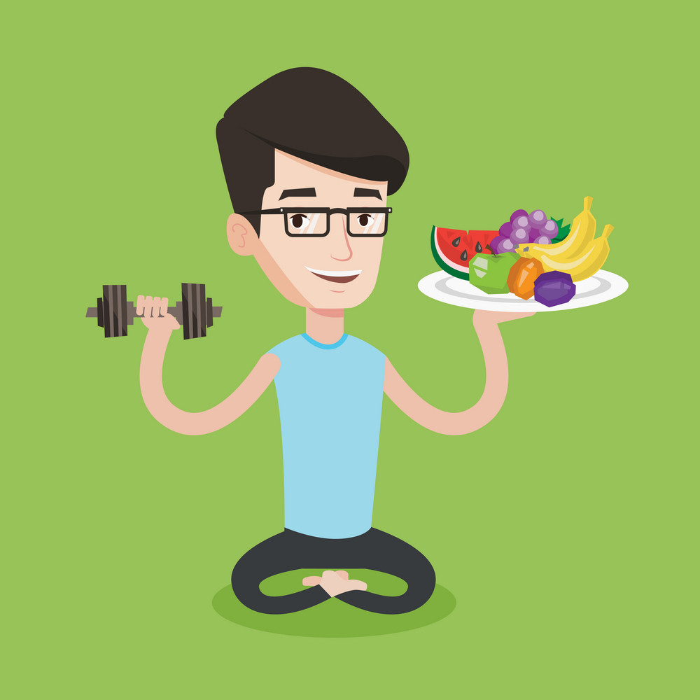 Healthy sportsman with fruits and dumbbell. Caucasian sportsman holding fruits and dumbbell. Man choosing healthy lifestyle. Healthy lifestyle concept. Vector flat design illustration. Square layout.