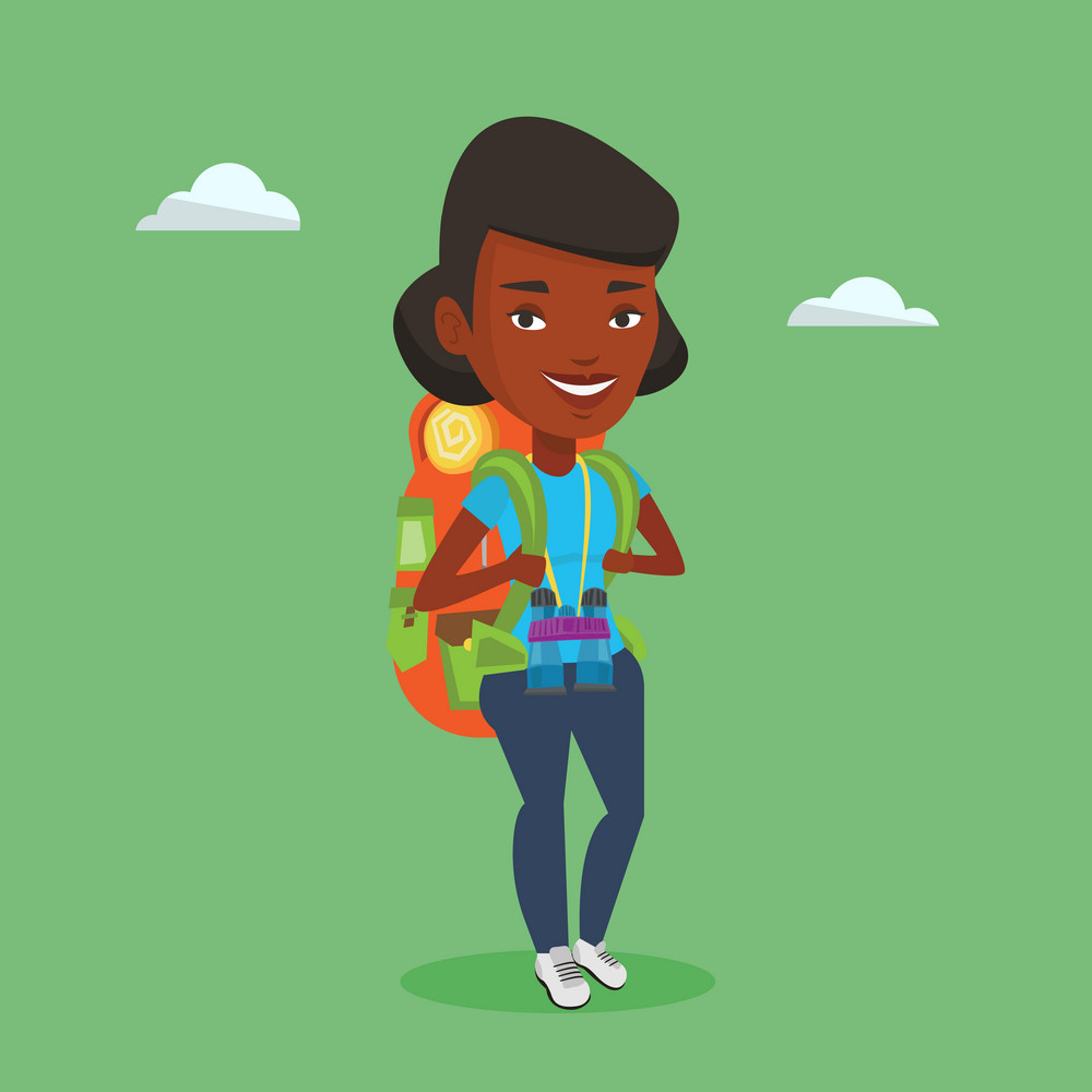 Hiking african-american traveler standing with backpack and binoculars. Traveler enjoying recreation time in nature. Happy traveler during summer trip. Vector flat design illustration. Square layout.