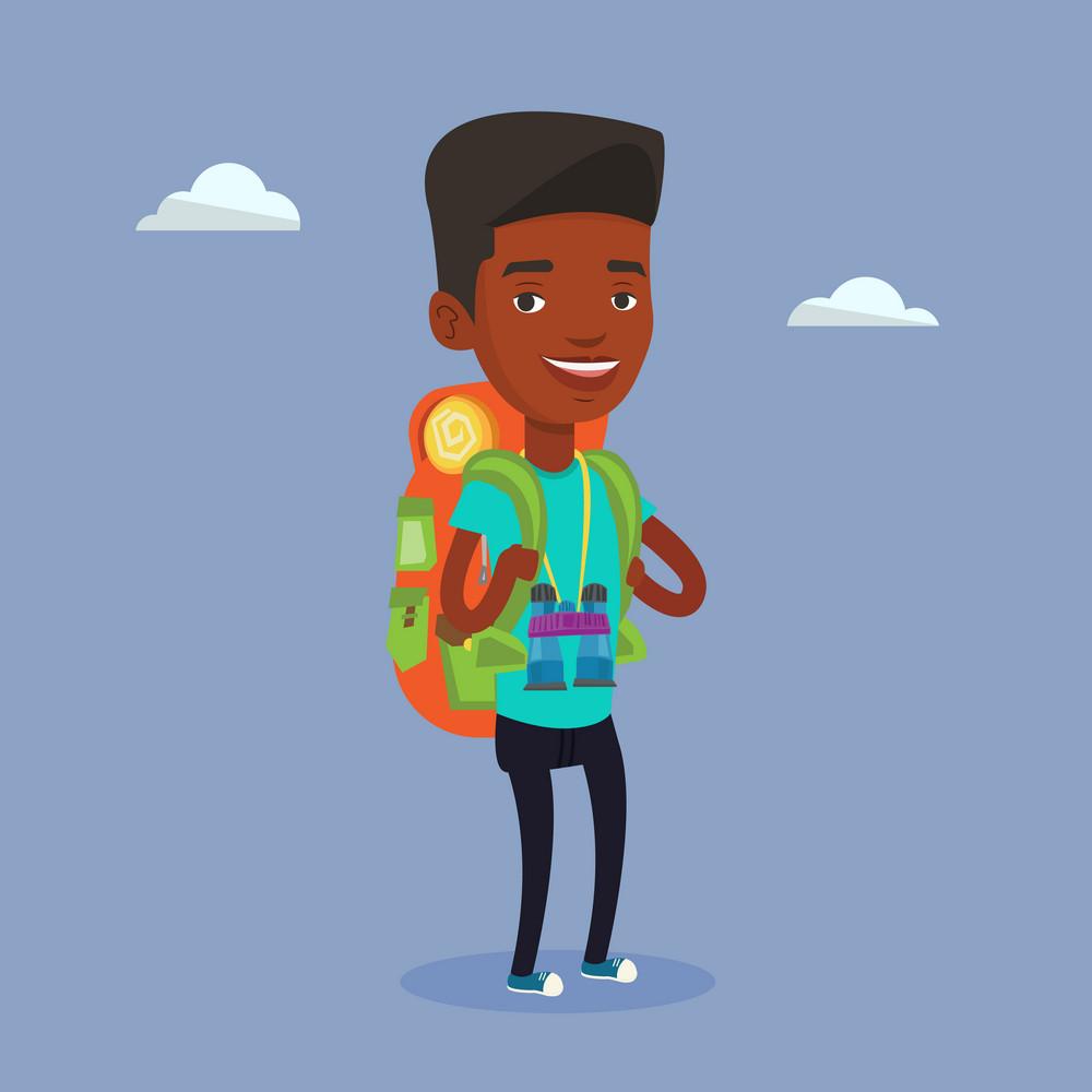 Hiking african-american traveler standing with backpack and binoculars. Traveler man enjoying recreation time in nature. Traveler during summer trip. Vector flat design illustration. Square layout.