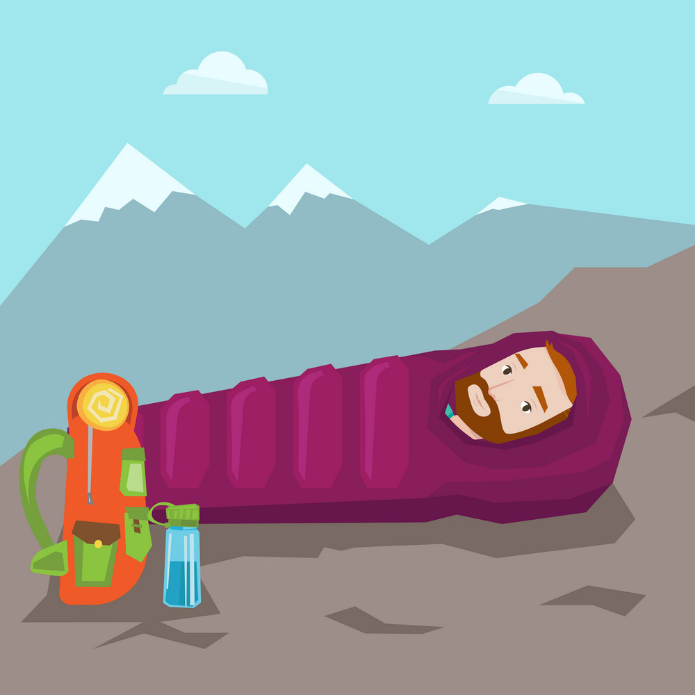 Hiking hipster man with the beard sleeping in a sleeping bag while camping in the mountains. Young caucasian man wrapped up in a mummy sleeping bag. Vector flat design illustration. Square layout.
