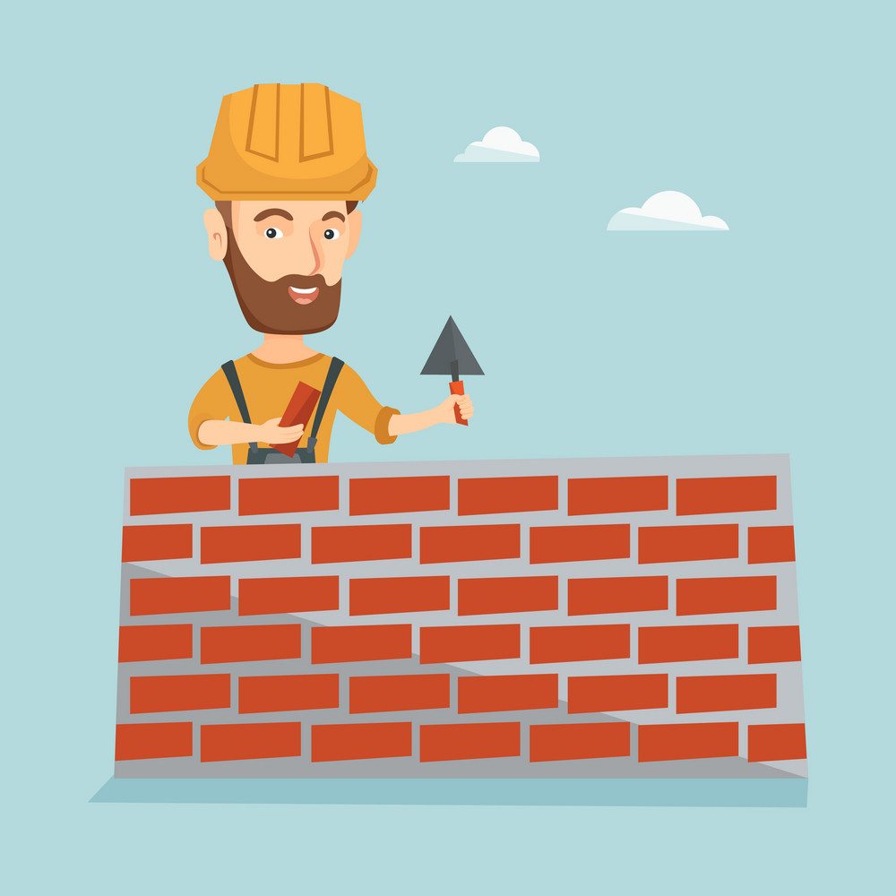 Hipster bricklayer in uniform and hard hat. Caucasian bicklayer working with spatula and brick on construction site. Bricklayer building brick wall. Vector flat design illustration. Square layout.