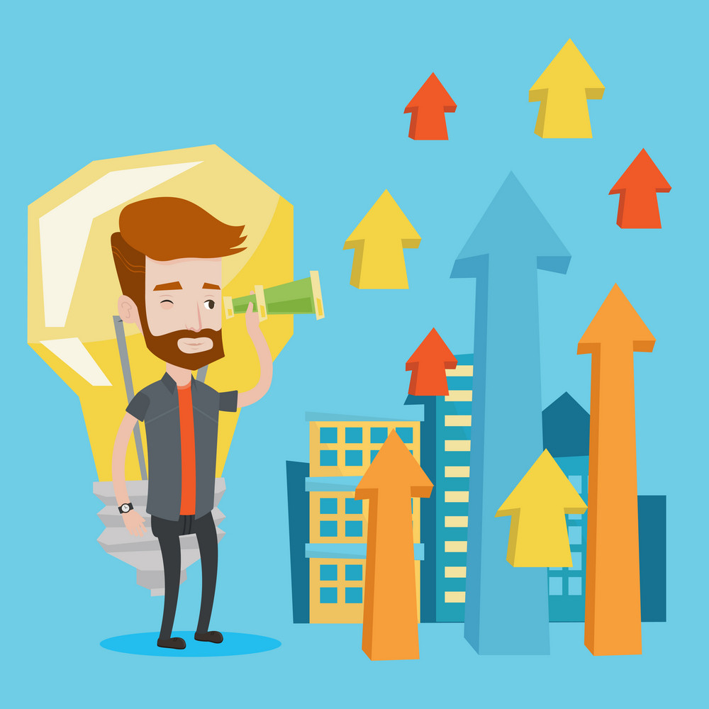 Hipster businessman looking through spyglass on arrows going upward on a city background with light bulb. Concept of business vision and business idea. Vector flat design illustration. Square layout.