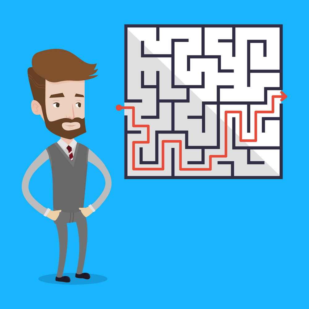 Hipster businessman with the beard standing in front of a maze with red arrow showing the way out. Businessman looking at the labyrinth with a solution. Vector flat design illustration. Square layout.
