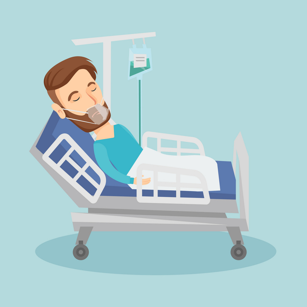 Hipster caucasian man lying in hospital bed with oxygen mask. Man during medical procedure with drop counter. Patient recovering in bed in hospital. Vector flat design illustration. Square layout.