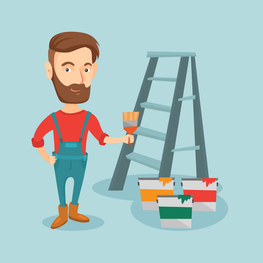 Hipster house painter holding a paintbrush. House painter with paintbrush in hand standing near step-ladder and paint cans. Concept of house renovation. Vector flat design illustration. Square layout.
