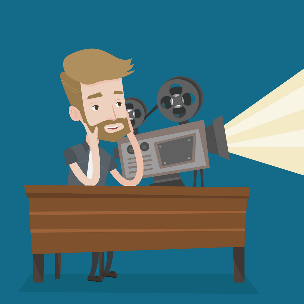 Hipster man with beard sitting near a film projector in the room projectionist. Caucasian projectionist showing new film. Young projectionist at work. Vector flat design illustration. Square layout.