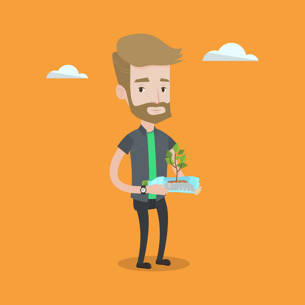 Hipster man with the beard holding in hands plastic bottle with plant growing inside. Man holding plastic bottle used as plant pot. Recycling concept. Vector flat design illustration. Square layout.