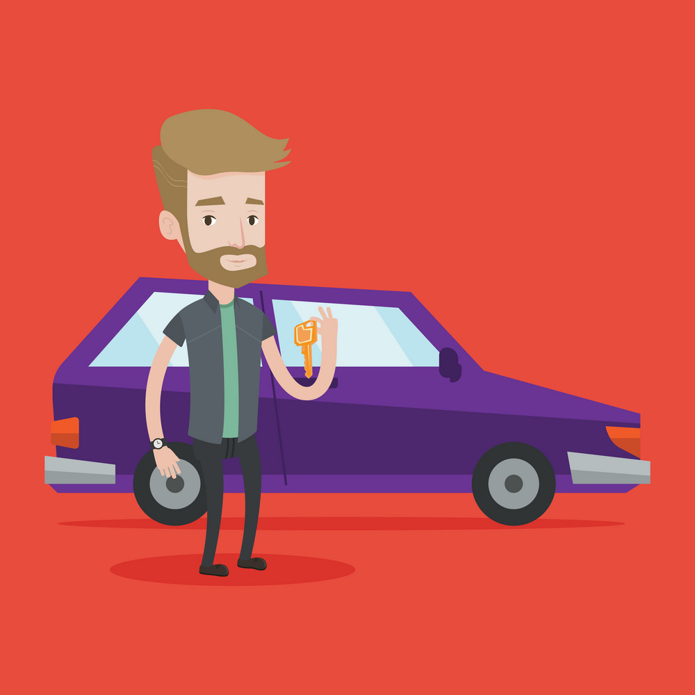 Hipster man with the beard holding keys to his new car. Happy man showing key to his new car. Young caucasian man standing on the backgrond of new car. Vector flat design illustration. Square layout.