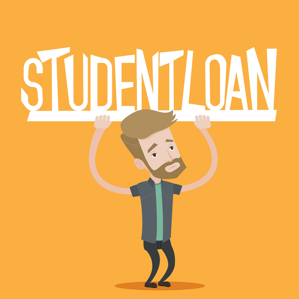 Hipster student with the beard holding a sign of student loan. Young male student carrying heavy sign - student loan. Concept of expensive education. Vector flat design illustration. Square layout.