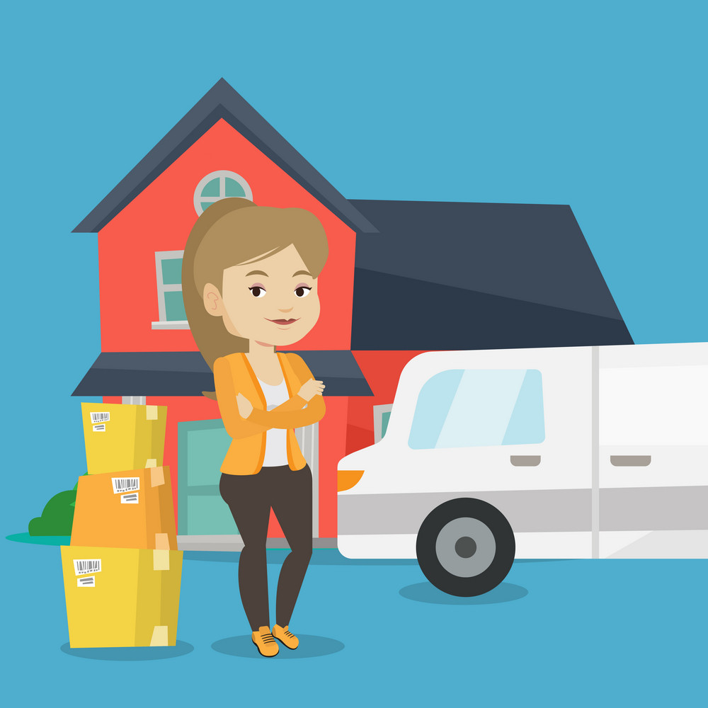 Homeowner standing in front of new home. Woman moving to a new house. Caucasian homeowner unloading cardboard boxes. Homeowner unpacking removal truck. Vector flat design illustration. Square layout.