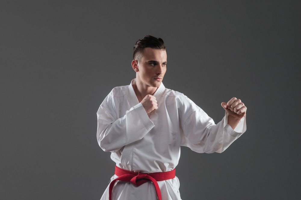 Image of handsome sportsman in kimono practice in karate isolated over grey background. Look aside.