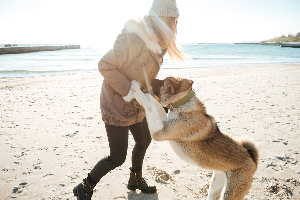 Image of playful young lady walks in winter beach with dog on a leash.