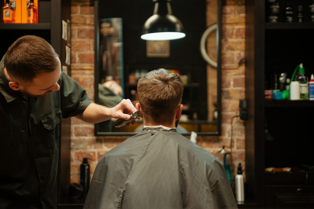 Image of professional stylist cut hair of his client. Back view.