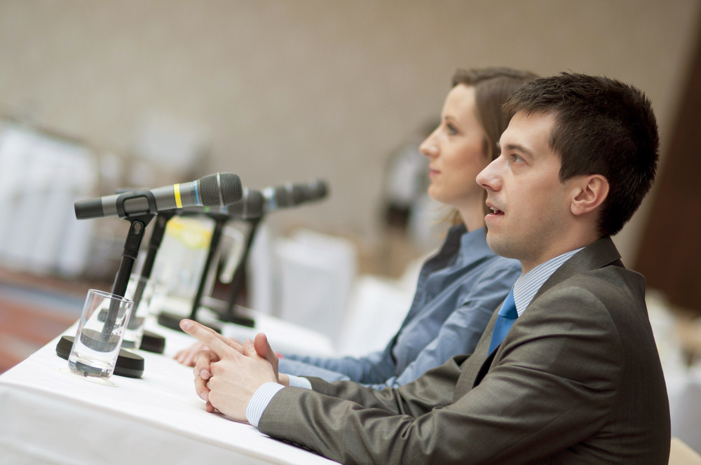 Indoor business conference for managers.