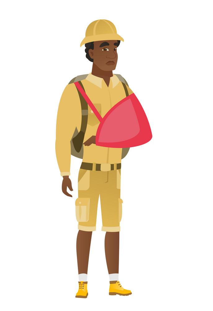 Injured african-american traveler wearing an arm brace. Traveler with broken arm in sling. Full length of young traveler with broken arm. Vector flat design illustration isolated on white background.